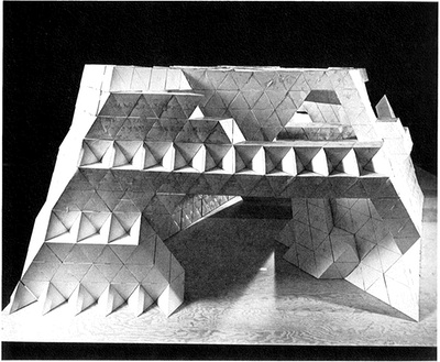 Smith's model, constructed of four-inch paper modules, for his work at Expo '70 in Osaka, Japan, photo by Hans Namuth