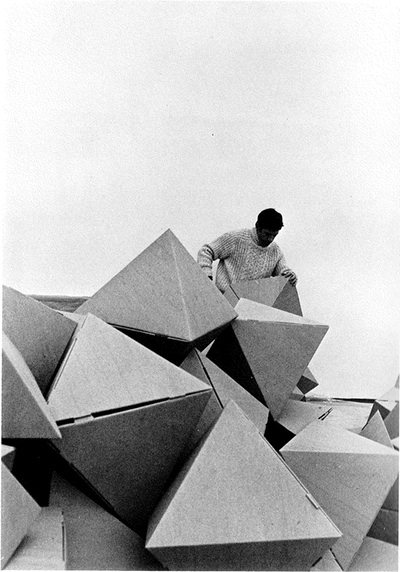 Construction in progress for Tony Smith's sculpture at Expo '70 in Osaka, Japan, photo by Tami Komai