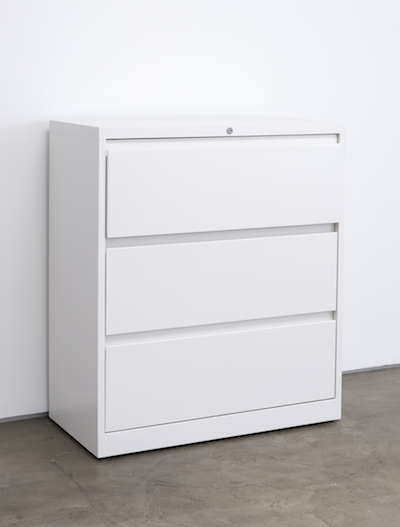 Kaz Oshiro, Lateral File Cabinet (White #1), 2013, photo courtesy Joshua White/JWPictures.com