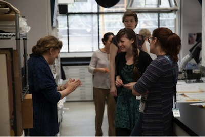 Participants included thirteen conservators, including Antoinette Dwan (left), LACMA staff and other professionals