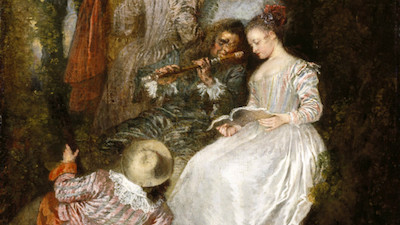 "Jean-Antoine Watteau, ""The Perfect Accord"" (detail), 1719, gift of the Ahmanson Foundation"