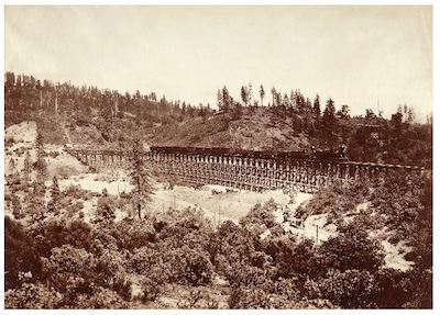 Carleton Watkins, The Secret Town Trestle, Central Pacific Railroad, Placer County, c. 1876, , c. 1867, the Marjorie and Leonard Vernon Collection, gift of The Annenberg Foundation, acquired from Carol Vernon and Robert Turbin
