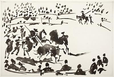 El Picador obligando al toro con su pica (The PIcador forcing the bull with his lance) from La Tauromaquia, 1959. Aquatint, 13 5/16 x 19 1/2 in. Gift of Mr. and Mrs. David Gensburg