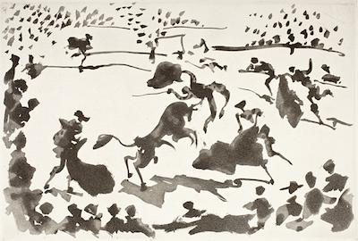 La Cogida (The Goring) from La Tauromaquia, 1959. Aquatint, 13 5/16 x 19 1/2 in. Gift of Mr. and Mrs. David Gensburg