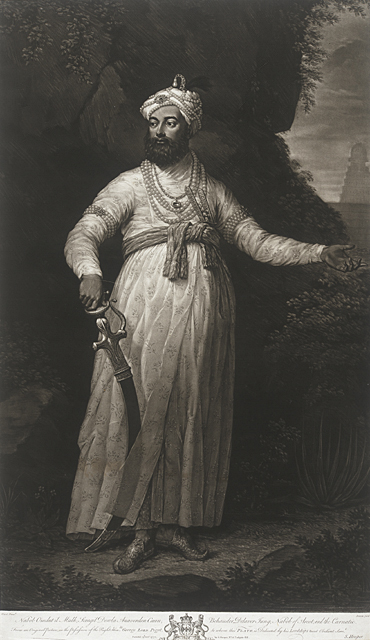 John Dixon Ireland, c. 1740-1811, active England After Francis Swain Ward England, c. 1734-1805 Omdut il Mulk, Nabob of Arcot, 1771 Mezzotint Gift of Dr. and Mrs. Pratapaditya Pal M.78.148