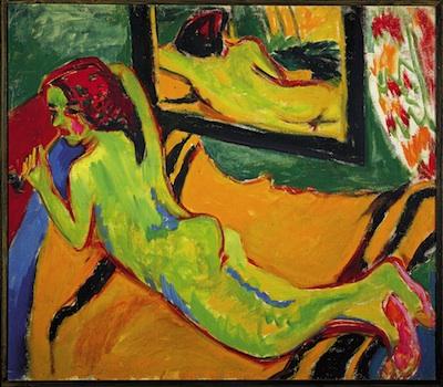 Ernst Ludwig Kirchner, Reclining Nude in Front of Mirror, 1909–1910, Oil on canvas, Brücke‑Museum, Berlin © Ernst Ludwig Kirchner, Courtesy Ingeborg & Dr. Wolfgang Henze-Ketterer, Wichtrach/Bern Photo © Brücke-Museum, Berlin.