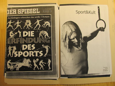 01-04 Research material on sports, collected by Harald Szeemann for his project Rundlederwelten. The Getty Research Institute, 2011.M.30.