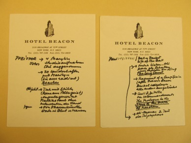 Harald Szeemann, notes on Paul Pfeiffer's work, likely taken during a studio visit, undated, approximately 2000–2004, Getty Research Institute, 2011.M.30