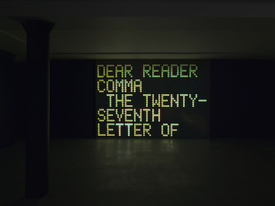 Shannon Ebner, Dear Reader, 2013, purchased with funds provided by AHAN: Studio Forum, 2014 Art Here and Now purchase