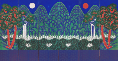Sun, Moon, and Five Peaks, 19th–early 20th century, National Palace Museum of Korea, Seoul, photo © National Palace Museum of Korea