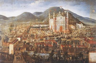 Attributed to Manuel Arellano, Transfer of the Image and Inauguration of the Sanctuary of the Virgin of Guadalupe, 1709, private collection, Spain