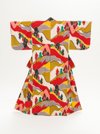 Woman's Kimono with Mountain Landscape, Japan, Taishō (1912–26)–mid-Shōwa period (1926–89), c. 1940, purchased with funds provided by Jacqueline Avant, photo © 2014 Museum Associates/LACMA