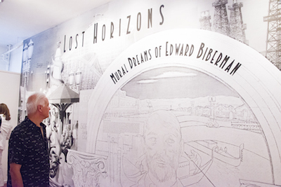 "Installation view of ""Lost Horizons: Mural Dreams of Edward Biberman,"" May 2014, photo courtesy of SPARC (sparcinla.org)"
