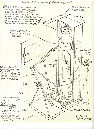 Drawing of shipping container and handling cart made for shipping the gas plasma tubes for Newton Harrison's Art and Technology piece to Osaka, Japan for Expo '70, dated September 5, 1969, Modern Art Department Art and Technology Records, LACMA Balch Art Research Library, MOD.001.001. Click to view full-sized image.