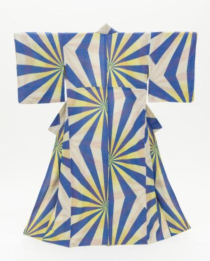 Woman's Kimono with Geometric Pattern, Japan, early Shōwa period (1926–89), c. 1940, Costume Council Fund, photo © 2014 Museum Associates/LACMA