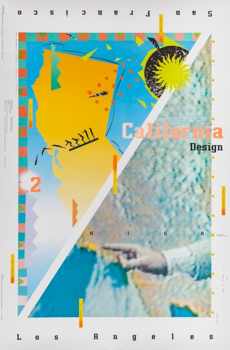 April Greiman, Jon Coy, Michael Manwaring, Linda Hindrichs, Michael Vanderbyl, Michael Patrick Cronan, and Eric Martin, poster for AIGA California Design2, 1985, Los Angeles County Museum of Art, Marc Treib Collection
